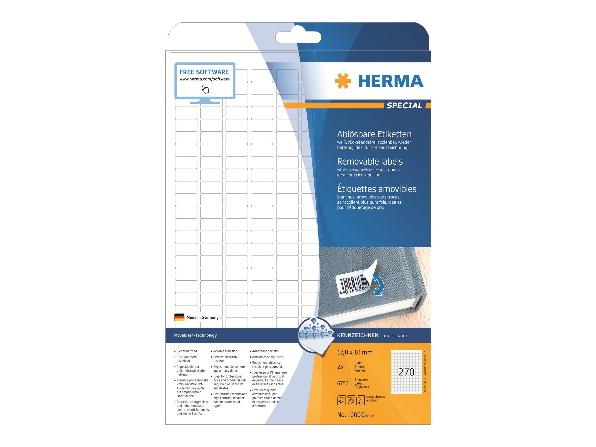 HERMA Special - Papier - matt - selbstklebend, entfernbarer Klebstoff - weiß - 17.8 x 10 mm 6750 Etikett(en) (25 Bogen x 270)