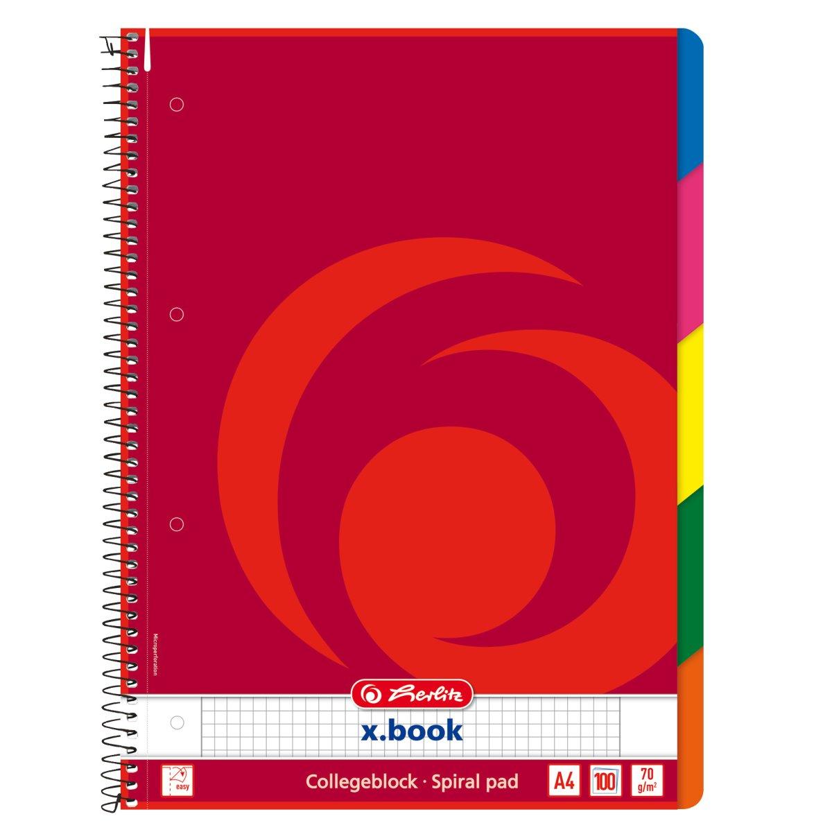 Herlitz 296491 - Collegeblock - x-book - DIN A4 - karriert - 100 Blatt - Rot