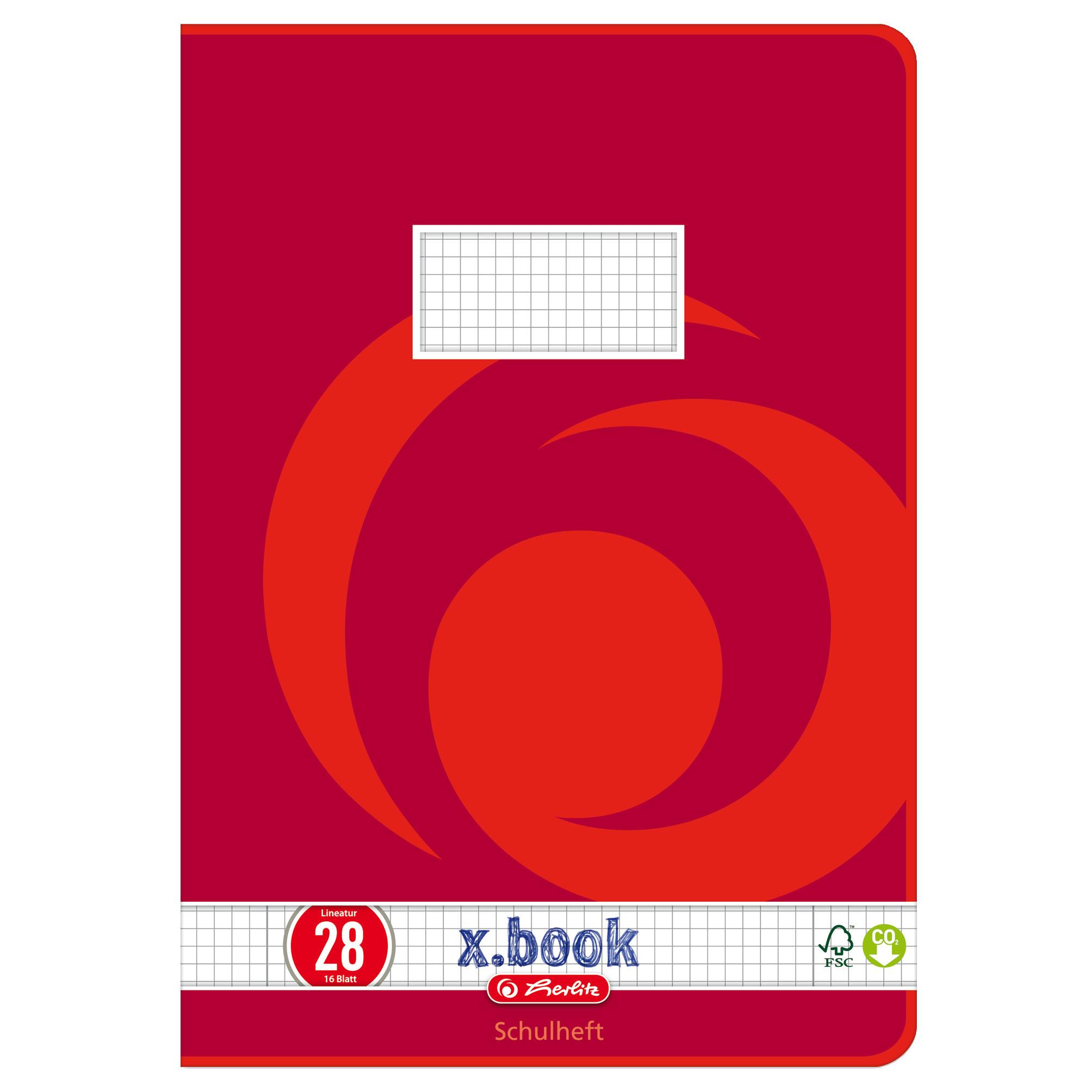 Herlitz3322807 - x.book - Heft - A4 - 16 Blatt - Lineatur 28 - Kariertes Papier - FSC Mix