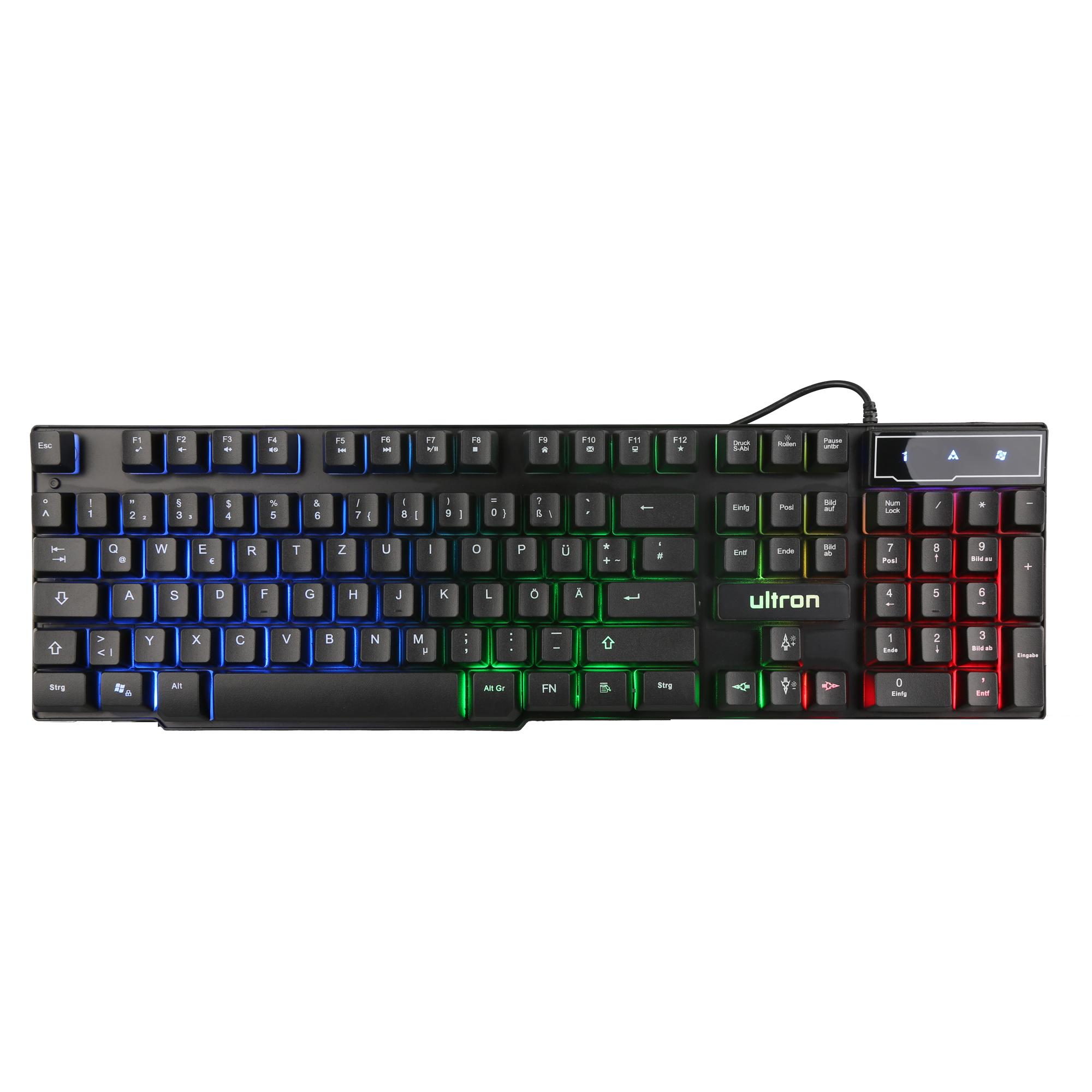 Ultron HAWK - Set aus Tastatur, Maus, Headset und Mauspad