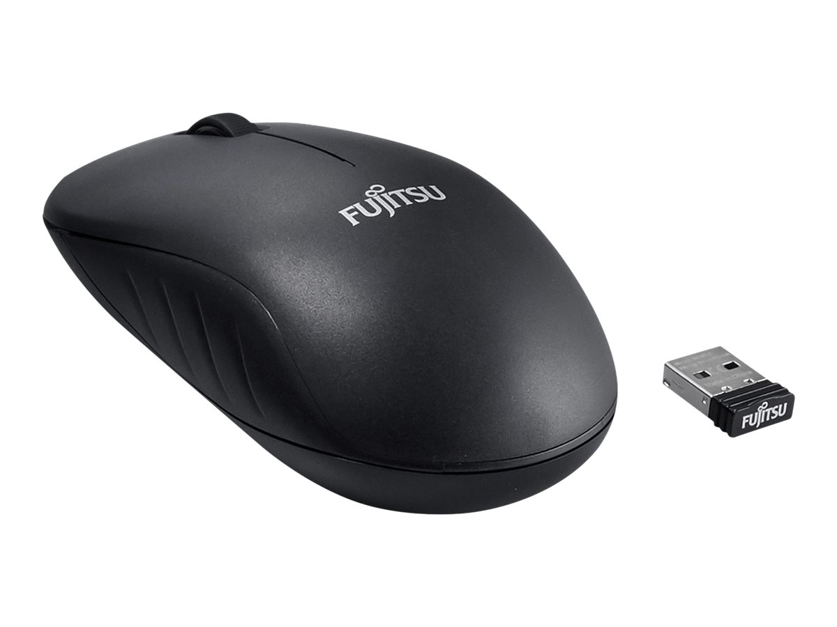 Fujitsu WI210 - Maus - rechts- und linkshändig - optisch - 3 Tasten - kabellos - 2.4 GHz - kabelloser Empfänger (USB)