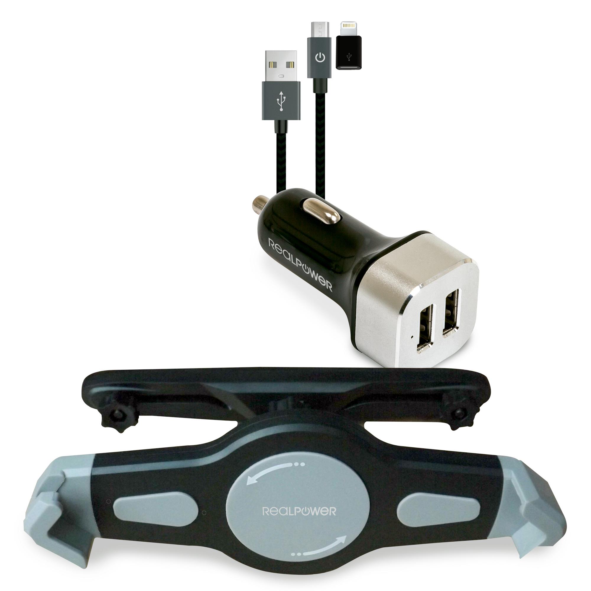 RealPower Tablet Car Set Zubehoer-Set fuer Tablets - Tablet/UMPC - Aktive Halterung - Auto - Schwarz - Silber