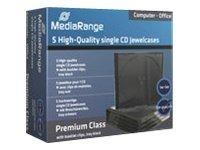 MEDIARANGE Retail-Pack CD-Jewelcases single - Behälter CD-Aufbewahrung - Kapazität: 1 CD/DVD - Schwarz, durchsichtig (Packung mit 5)