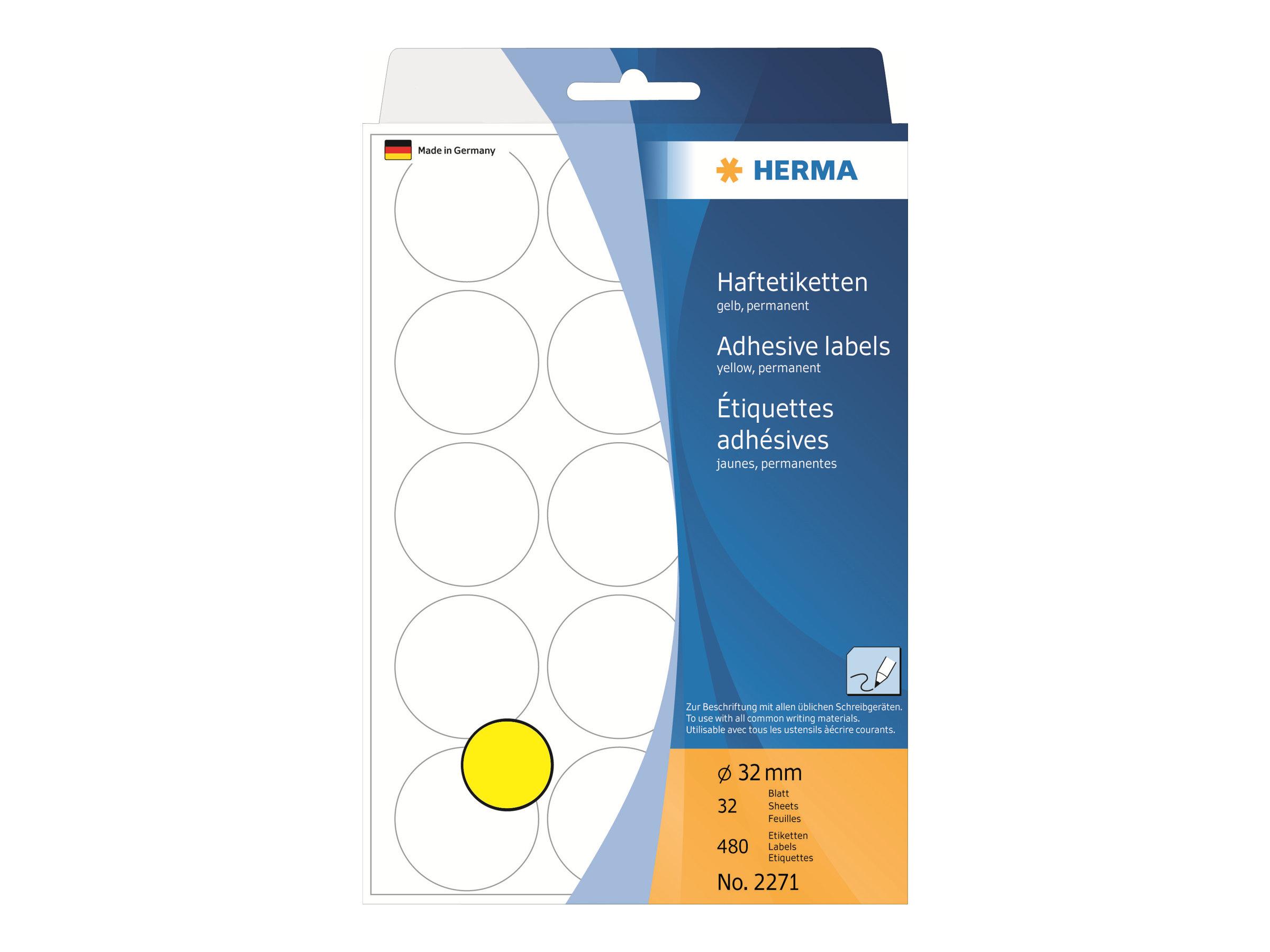HERMA Papier - permanent selbstklebend - Gelb - 32 mm rund 480 Etikett(en) (32 Bogen x 15)