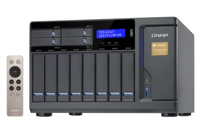 QNAP TVS-1282T NAS Tower Eingebauter Ethernet-Anschluss Schwarz