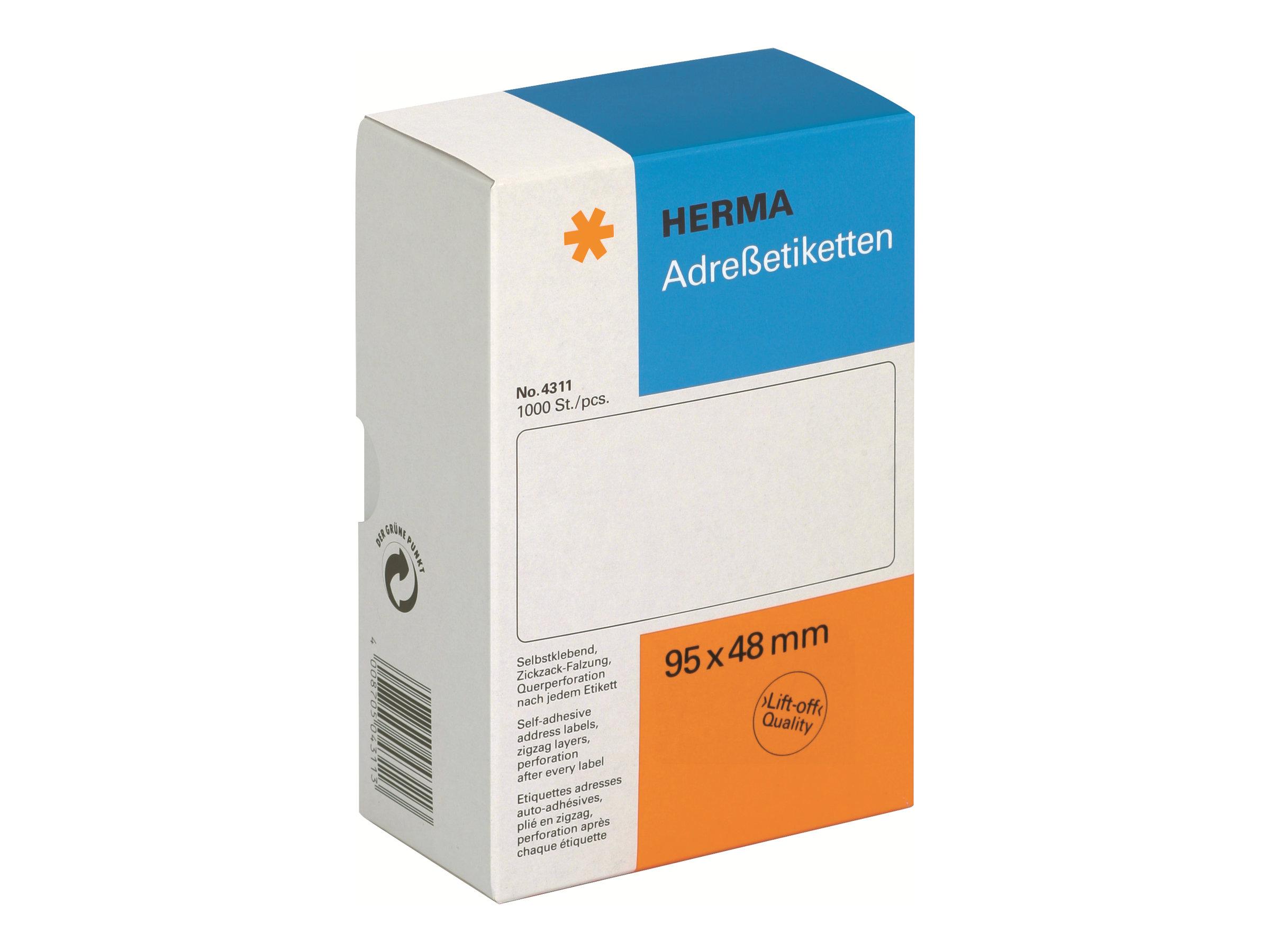 HERMA Weiß - 48 x 95 mm 1000 Etikett(en) leporellogefaltete, perforierte Endlosadressetiketten