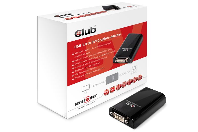 Club 3D USB 3.0 Grafik/Videoadapter, USB auf DVI, 2048 x 1152 Auflösung, DL-3100 Chip