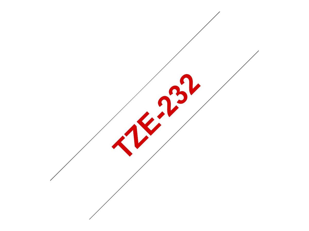 Brother TZe232 - Standard-Klebstoff - Rot auf Weiß - Rolle (1,2 cm x 8 m)