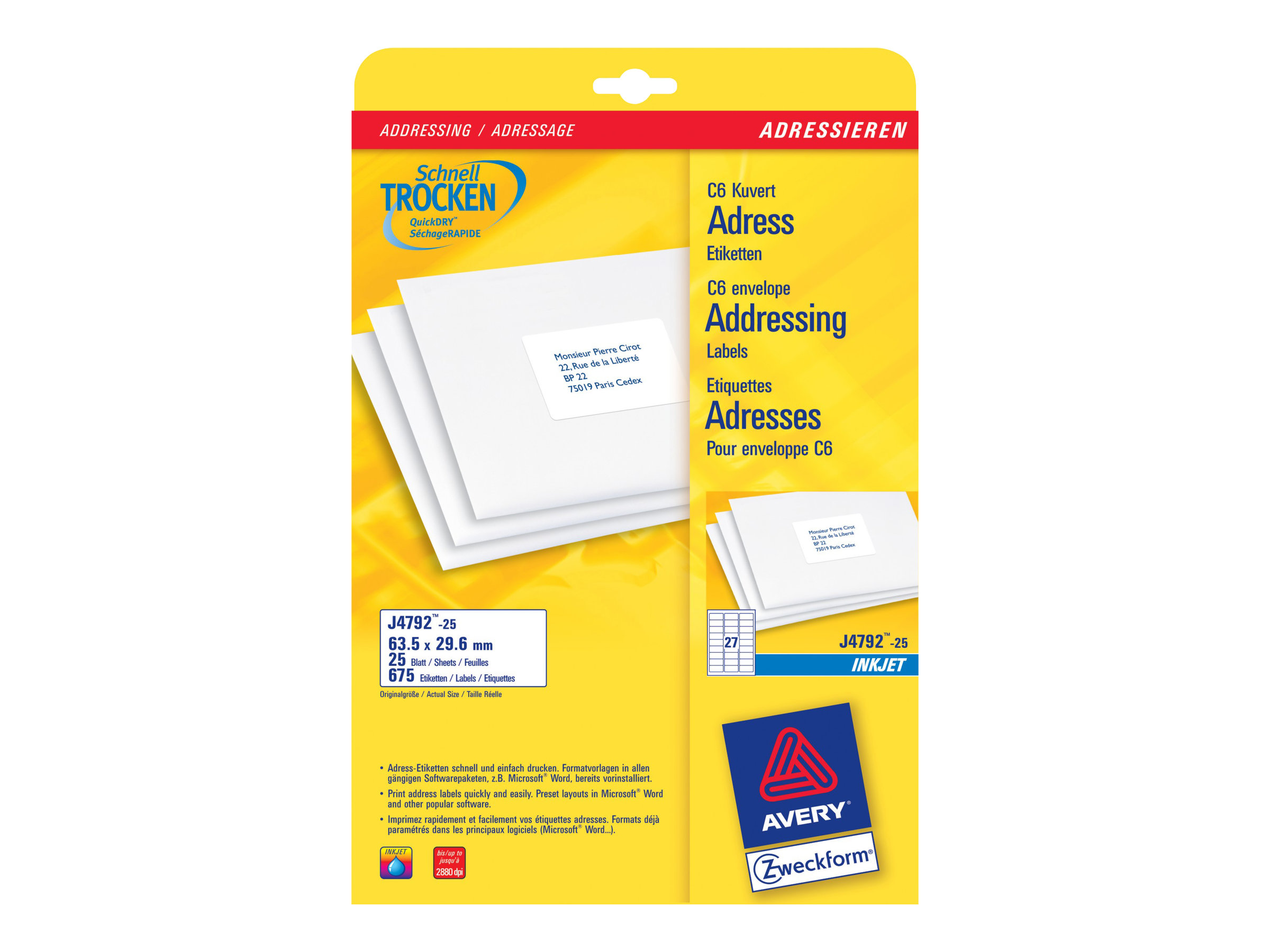 Avery Zweckform J4792 - Weiß - 29.6 x 63.5 mm 675 Etikett(en) (25 Bogen x 27) Adressetiketten