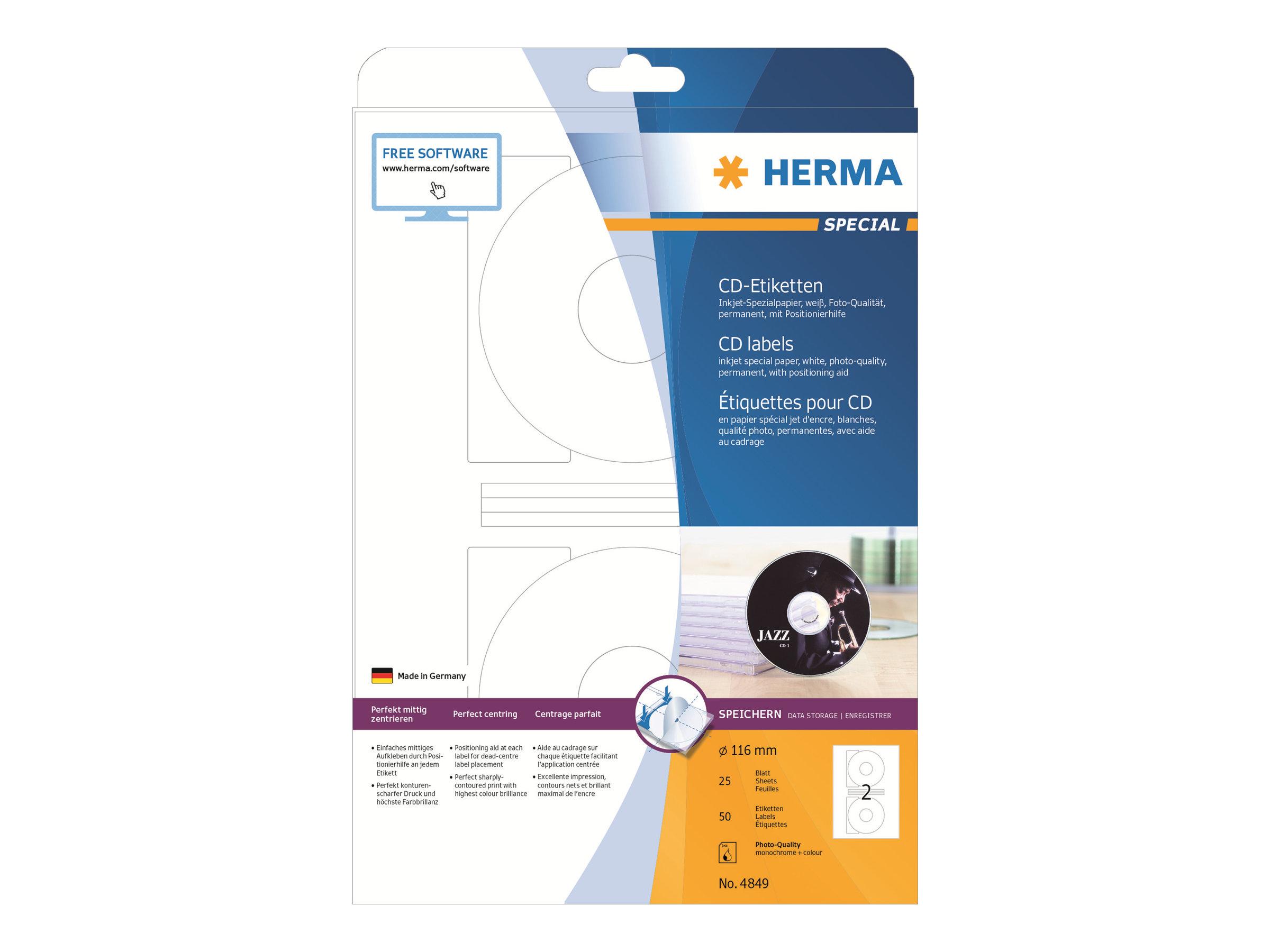 HERMA Special - Papier - matt - permanent selbstklebend - beschichtet - weiß - 116 mm rund - 90 g/m² - 50 Etikett(en) (25 Bogen x 2)