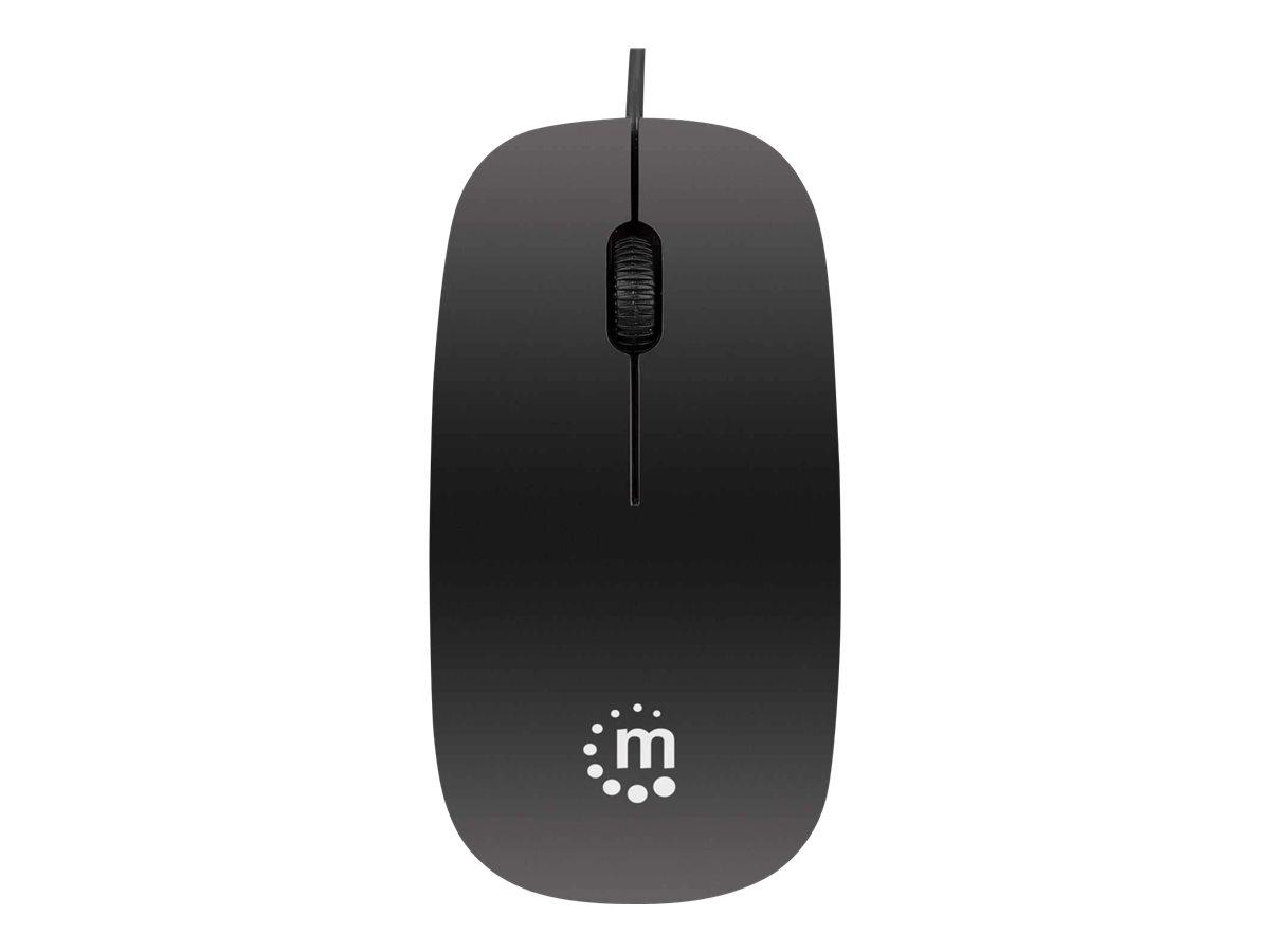 Manhattan Optische Slim Maus, USB, drei Tasten plus Mausrad, 1000 dpi, schwarz