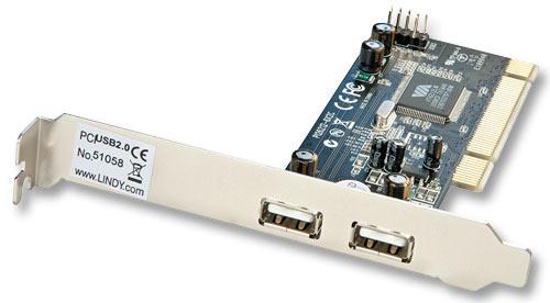 Lindy USB Card - 2+2 Port USB 2.0 - USB-Adapter