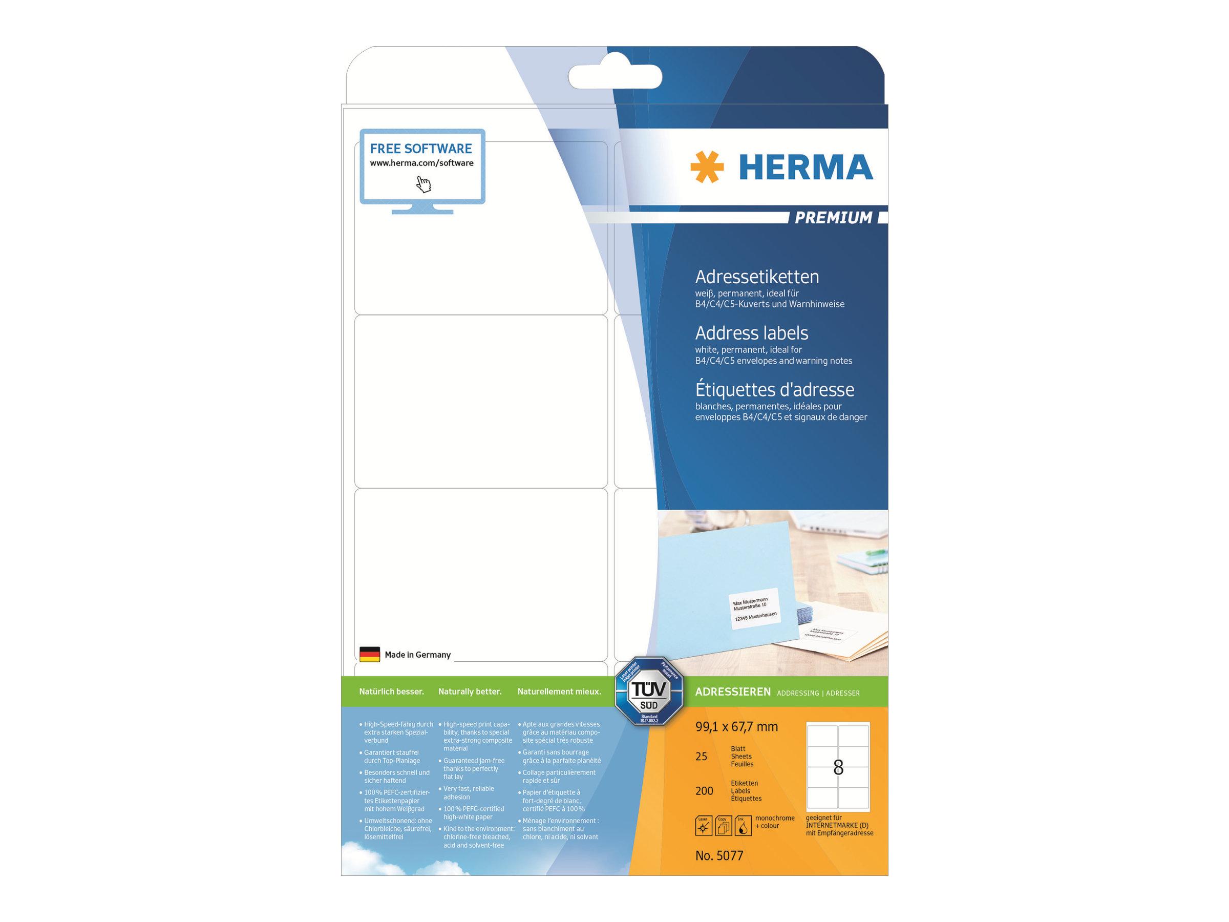HERMA Premium - Papier - matt - permanent selbstklebend - weiß - 99.1 x 67.7 mm 200 Etikett(en) (25 Bogen x 8)