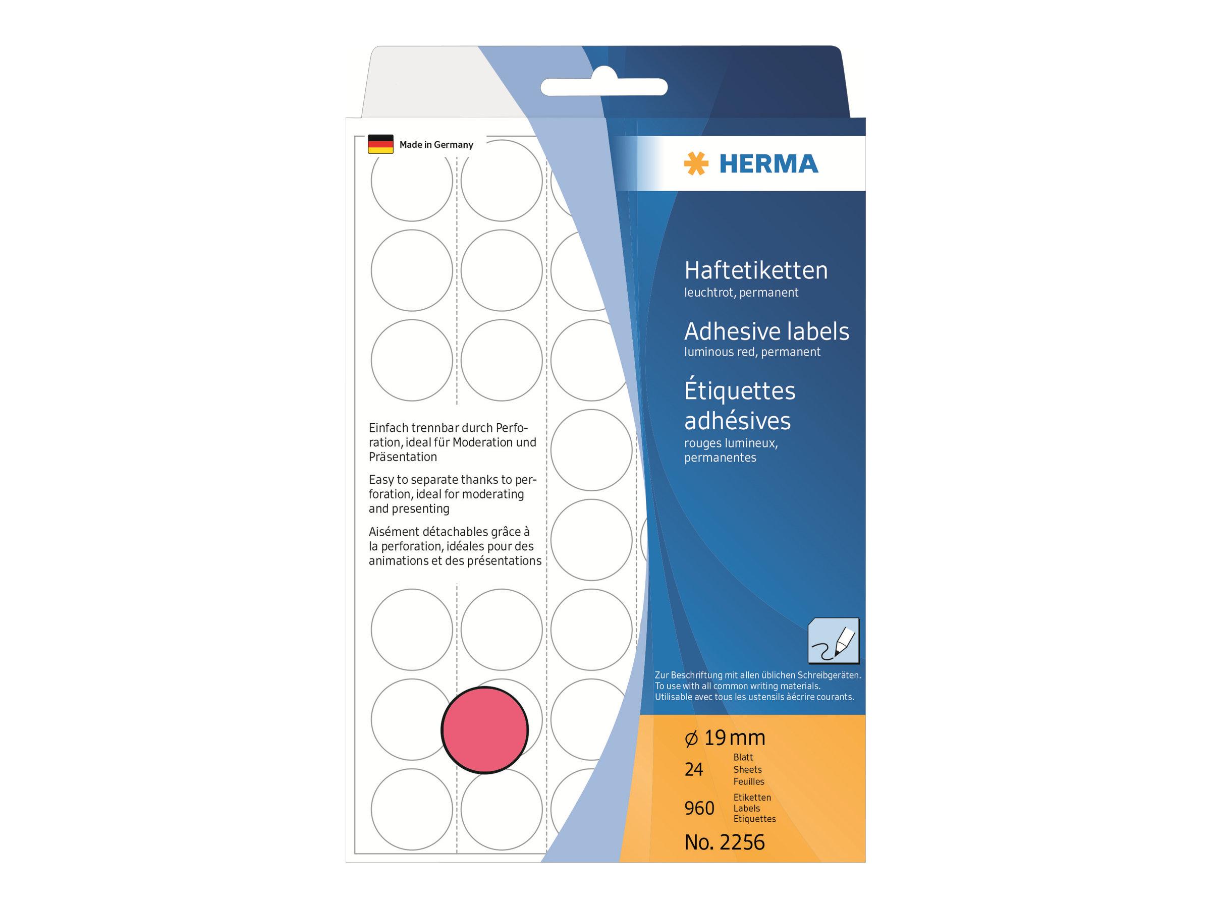 HERMA Permanenter Klebstoff - Luminous Red - 19 mm rund 960 Etikett(en) (24 Bogen x 40)