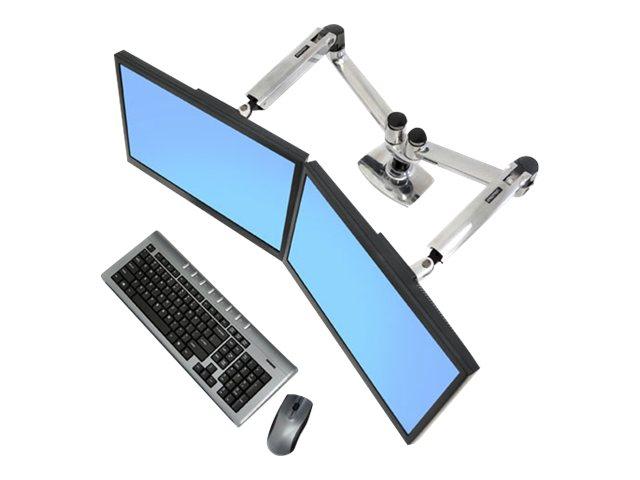 Ergotron LX Dual Side-by-Side Arm - Befestigungskit (Spannbefestigung für Tisch, Tischplattenbohrung, Stange, 2 Gelenkarme, 2 Erweiterungsklammern, T-Halterung)