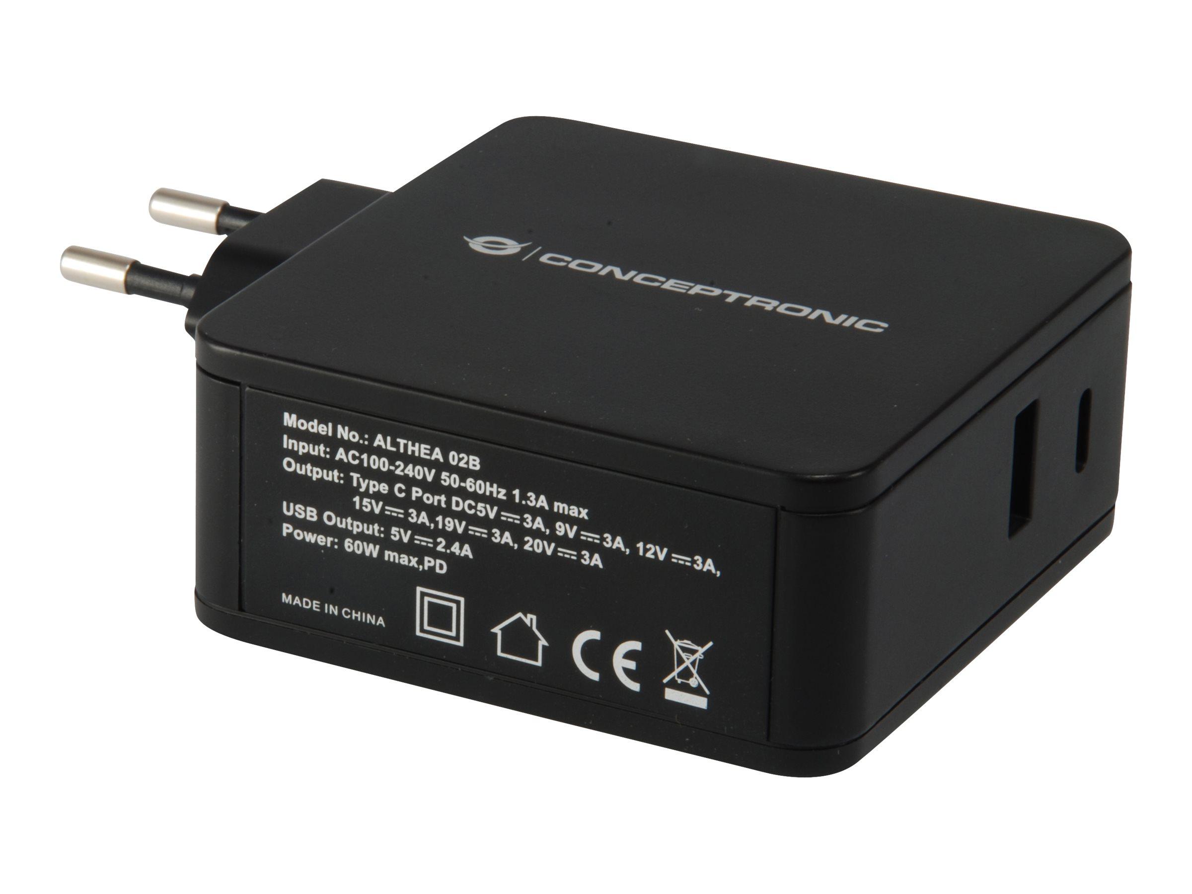Conceptronic ALTHEA 02B 2-Port 60W USB PD Charger - Netzteil - 60 Watt - 3 A (USB, USB-C)