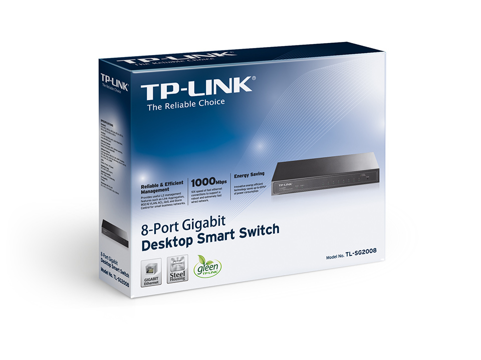 TPLINK TLSG2008  Managed  Gigabit Ethernet (10/100/1000)