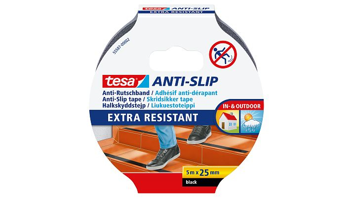 Tesa 55587-02 - Non-slip bath strip - Erwachsene - Schwarz - 25 mm