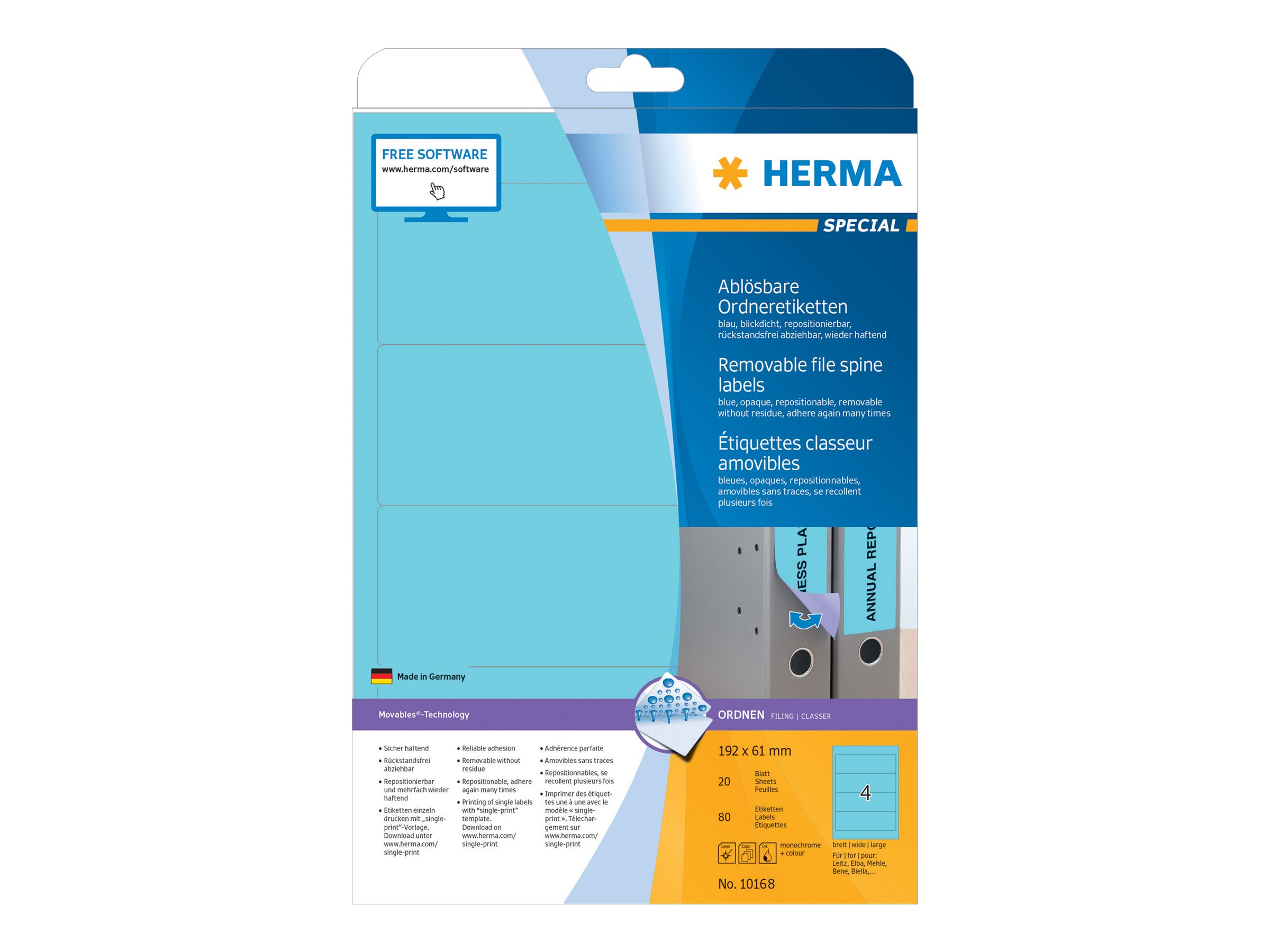 HERMA Special - Papier - matt - selbstklebend, entfernbarer Klebstoff - Blau - 192 x 61 mm 80 Etikett(en) (20 Bogen x 4)