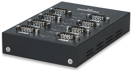 Manhattan USB / 8x Serial USB 8 x RS-232 9-pin Schwarz Kabelschnittstellen-/adapter