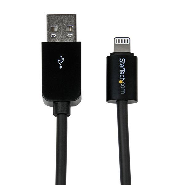 StarTech.com 2m Apple 8 Pin Lightning Connector auf USB Kabel - Schwarz - USB Kabel für iPhone / iPod / iPad