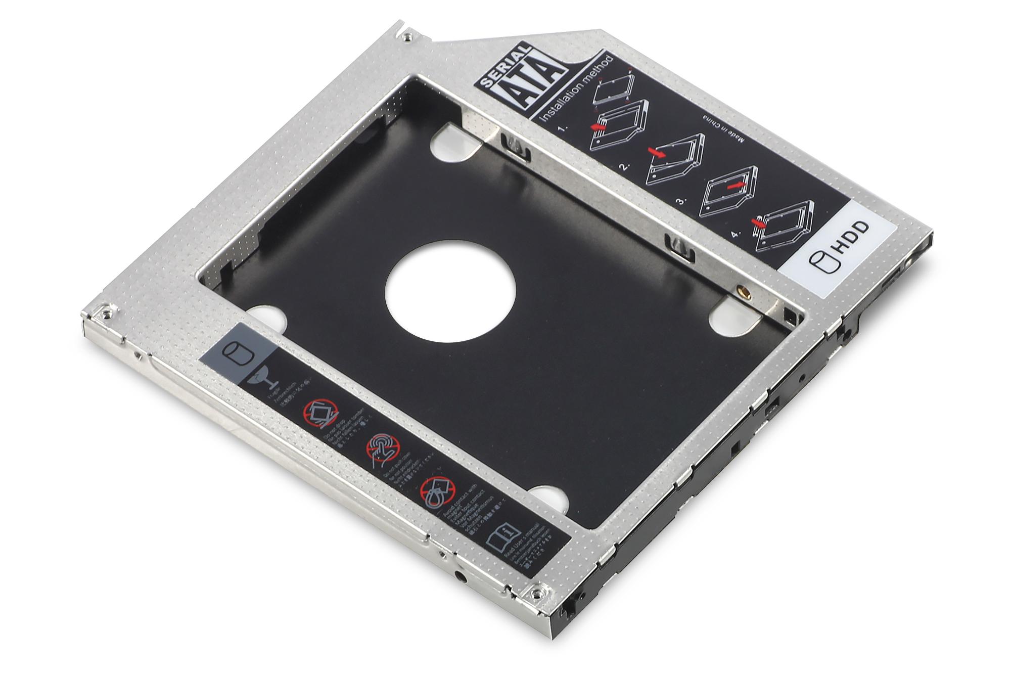 DIGITUS SSD/HDD Einbaurahmen für den CD/DVD/Blu-ray Laufwerksschacht, SATA auf SATA III, 9,5 mm Bauhöhe