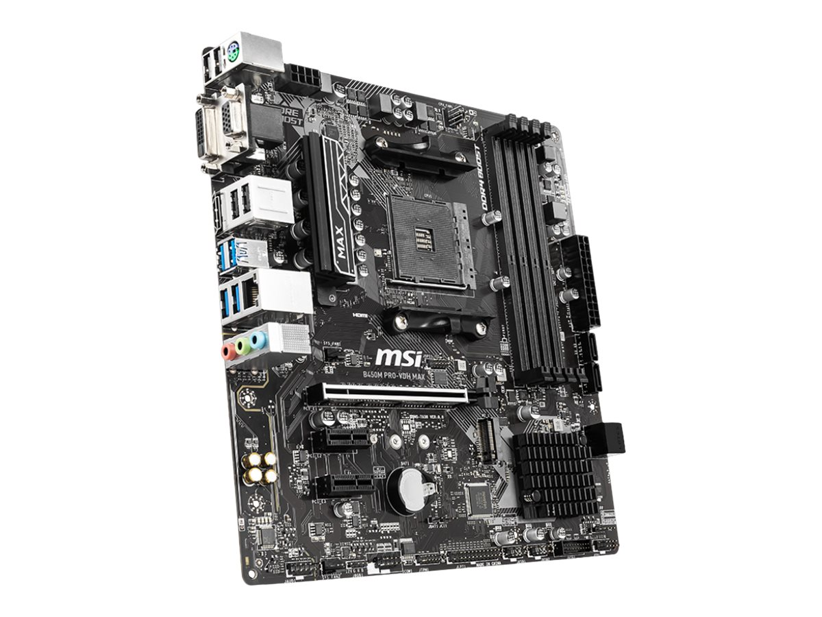 MSI B450M PRO-VDH MAX - Motherboard - micro ATX - Socket AM4 - AMD B450 - USB 3.2 Gen 1 - Gigabit LAN - Onboard-Grafik (CPU erforderlich)
