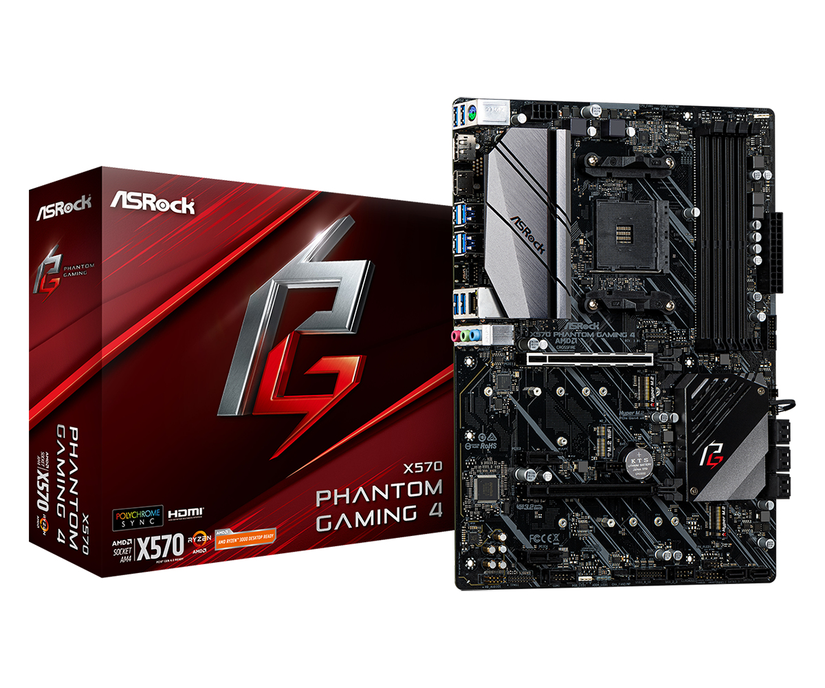 ASRock X570 Phantom Gaming 4 - AMD - Socket AM4 - AMD Ryzen - DDR4-SDRAM - DIMM - 2133,2400,2667,2933,3200,3466 MHz