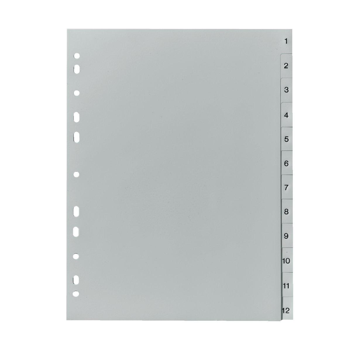 Herlitz 10843407 - Numerischer Registerindex - Polypropylen (PP) - Grau - A4