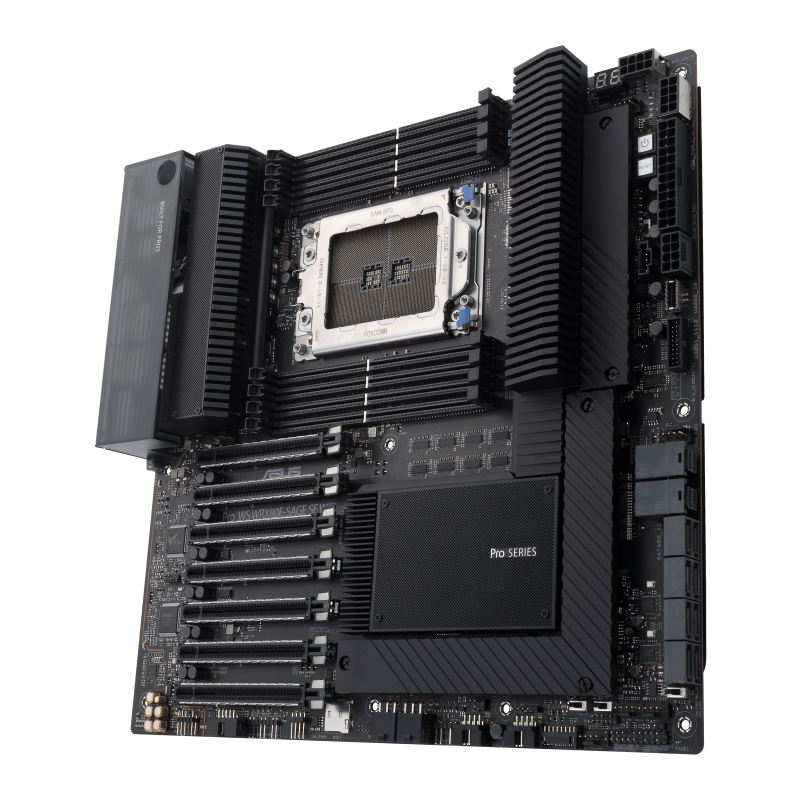 ASUS Pro WS WRX80E-SAGE SE WIFI - Motherboard - Erweitertes ATX - Socket sWRX8 - AMD WRX80 - USB-C Gen2, USB 3.2 Gen 1, USB 3.2 Gen 2, USB-C Gen 2x2 - 2 x 10 Gigabit LAN, Wi-Fi, Bluetooth - HD Audio (8-Kanal)