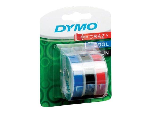 Dymo Selbstklebend - Schwarz, Blau, Rot - Rolle (0,9 cm x 3 m)
