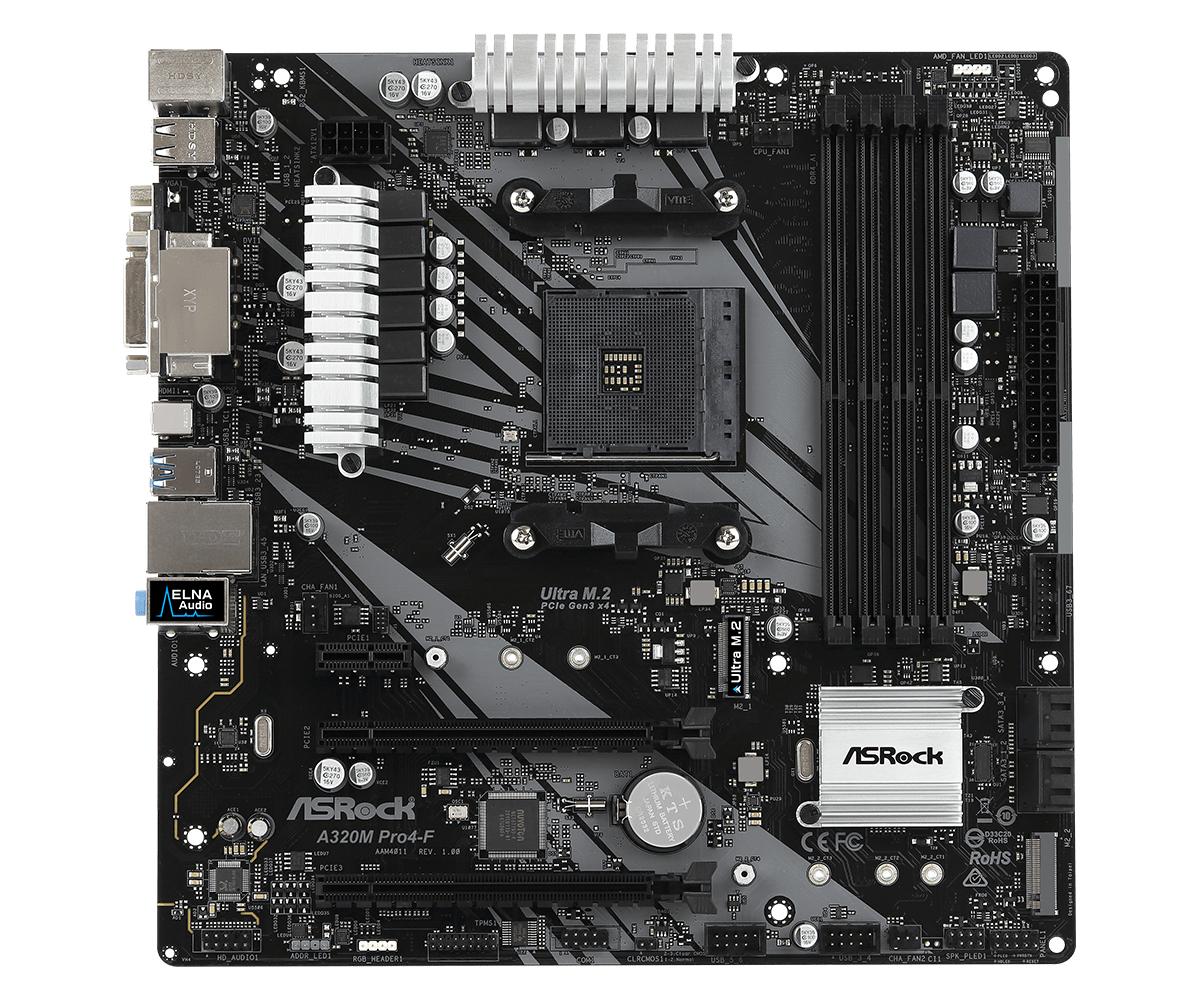 ASRock A320M Pro4-F - Motherboard - micro ATX - Socket AM4 - AMD A320 - USB 3.1 Gen 1, USB-C Gen1 - Gigabit LAN - Onboard-Grafik (CPU erforderlich)