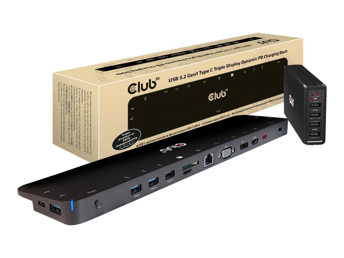Vorschau: Club 3D Dockingstation - USB-C 3.2 Gen 1 - VGA, HDMI, DP