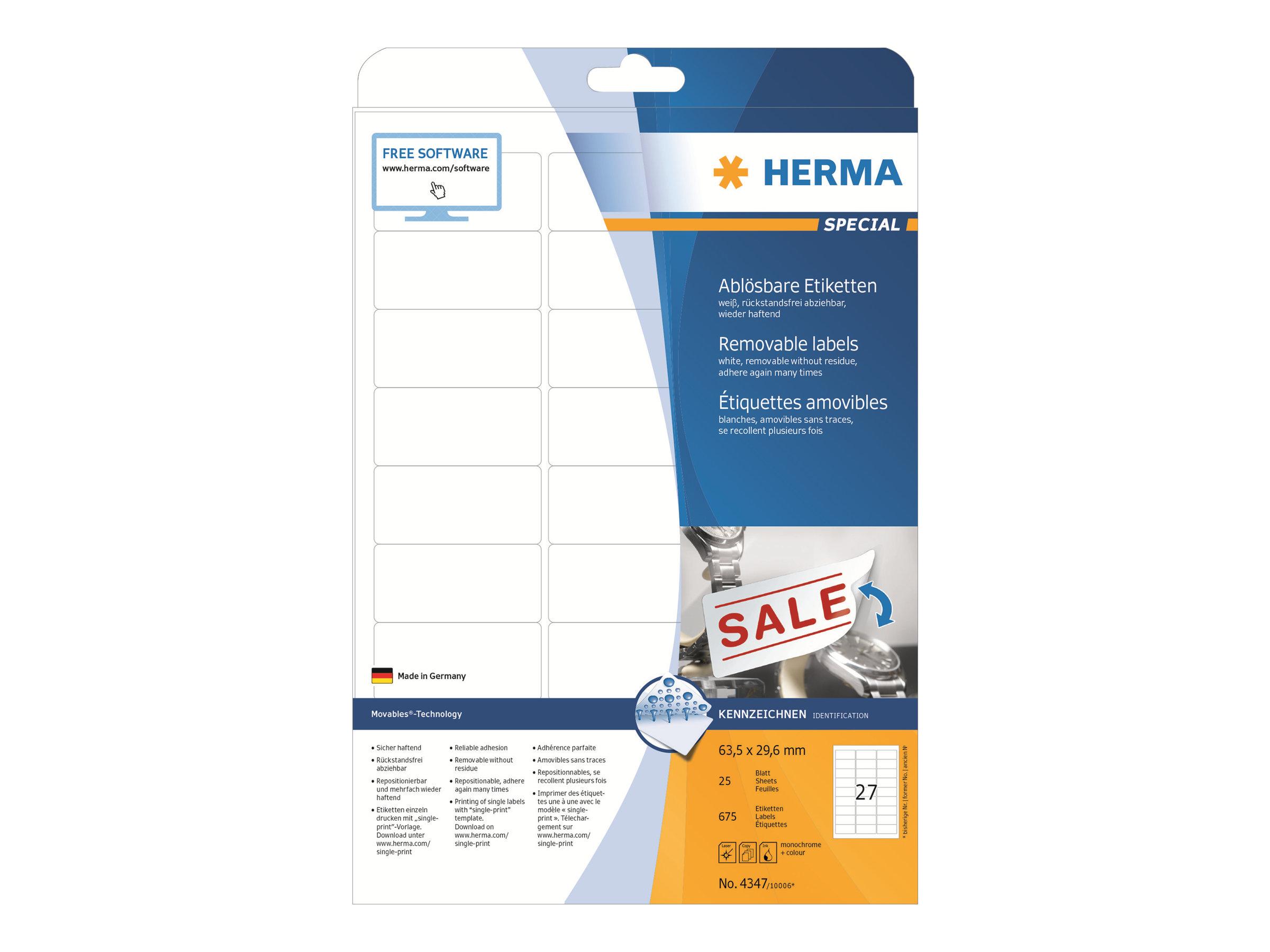 HERMA Special - Papier - matt - selbstklebend, entfernbarer Klebstoff - weiß - 63.5 x 29.6 mm 675 Etikett(en) (25 Bogen x 27)