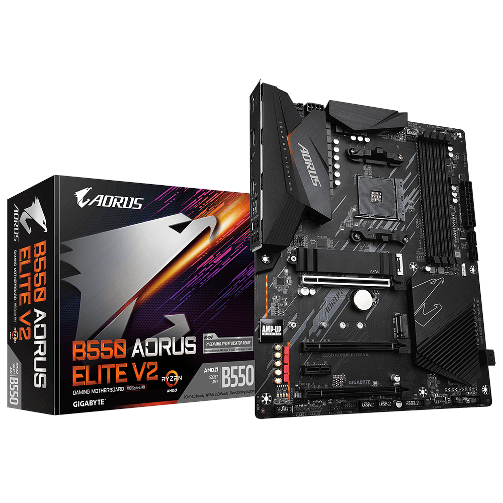 Gigabyte B550 AORUS ELITE V2 - AMD - Socket AM4 - AMD Ryzen 3 3rd Gen - 3rd Generation AMD Ryzen 5 - 3rd Generation AMD Ryzen 7 - 3rd Generation AMD... - DDR4-SDRAM - DIMM - 2133,2400,2667,2933,3200 MHz