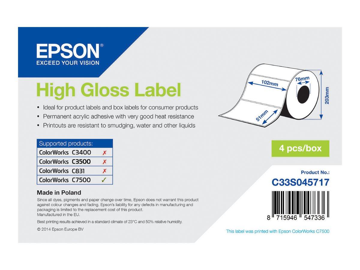Epson Hochglänzend - permanenter Acrylklebstoff - 102 x 51 mm 9240 Etikett(en) (4 Rolle(n)