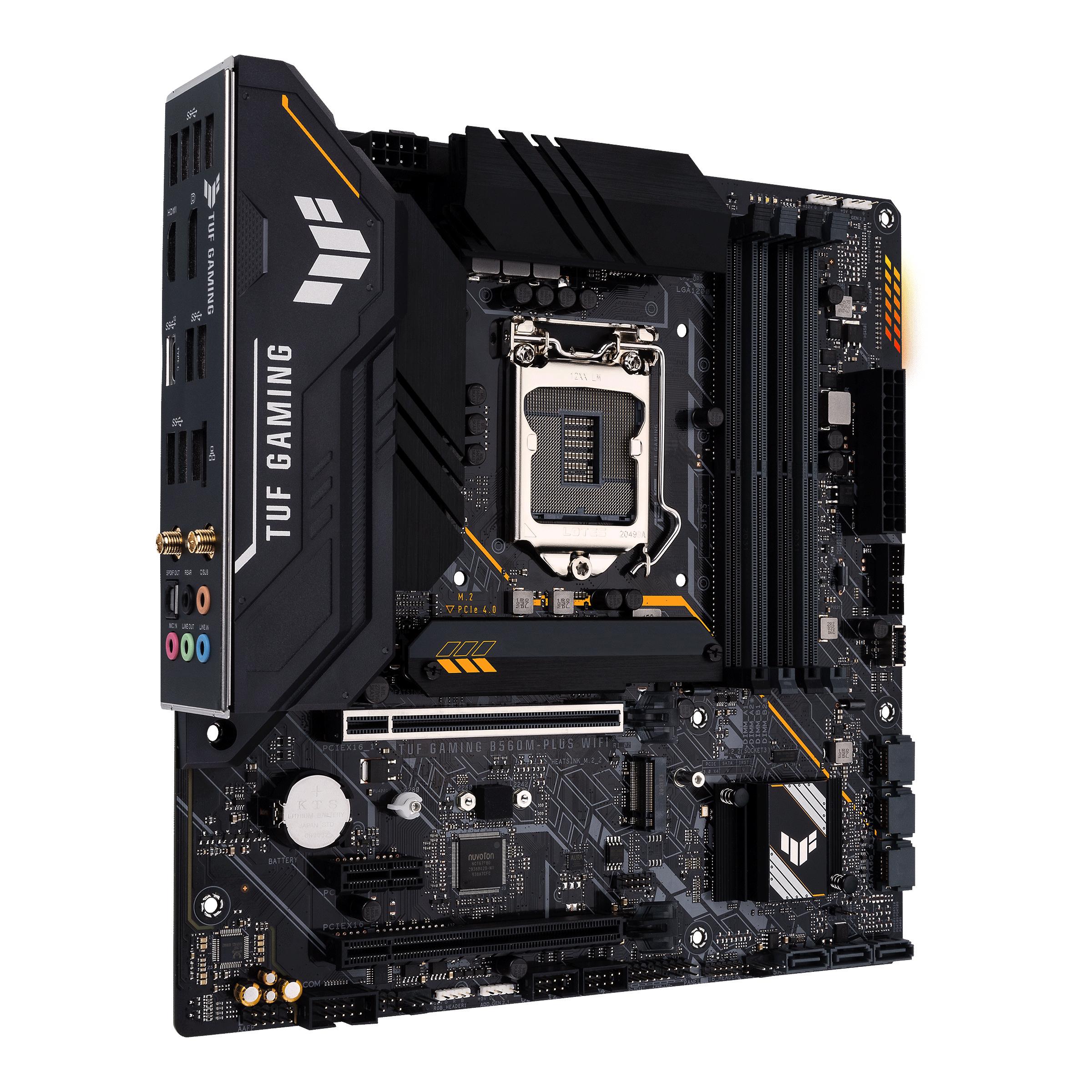 ASUS TUF GAMING B560M-PLUS WIFI - Motherboard - micro ATX - LGA1200-Sockel - B560 - USB-C Gen1, USB 3.2 Gen 1, USB 3.2 Gen 2 - 2.5 Gigabit LAN, Wi-Fi, Bluetooth - Onboard-Grafik (CPU erforderlich)