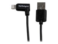 2m USB auf Apple 8-pin Lightning Kabel gewinkelt für iPhone / iPod / iPad - Schwarz