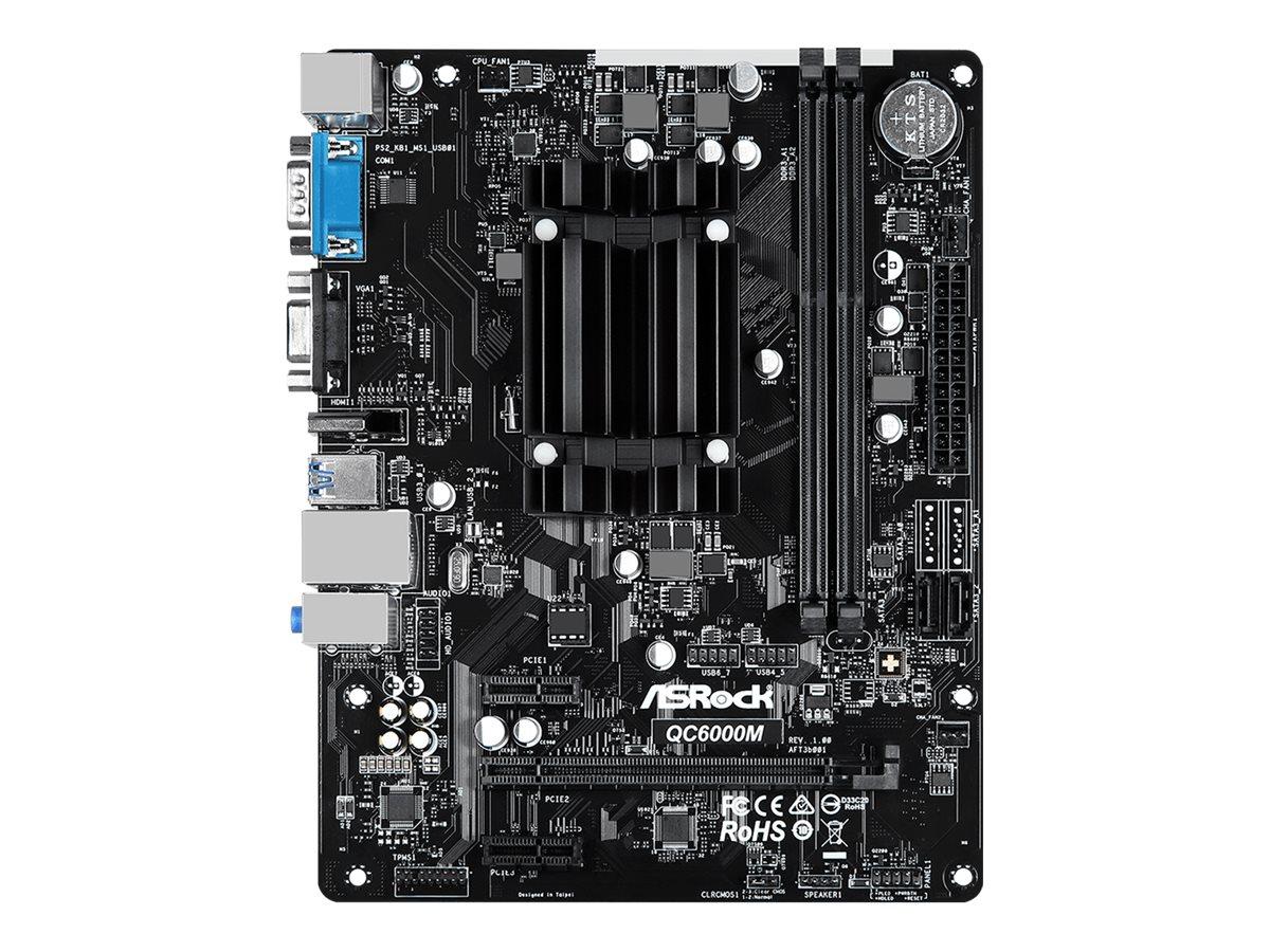Vorschau: ASRock QC6000M - Motherboard - micro ATX - AMD E2 6110 - USB 3.2 Gen 1 - Gigabit LAN - Onboard-Grafik - HD Audio (8-Kanal)