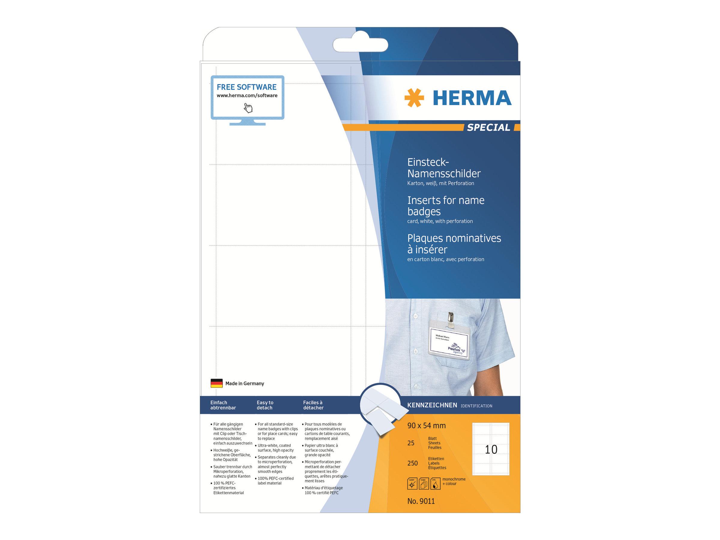 HERMA Special - Nicht klebend - weiß - 90 x 54 mm 250 Karte(n) (25 Bogen x 10)