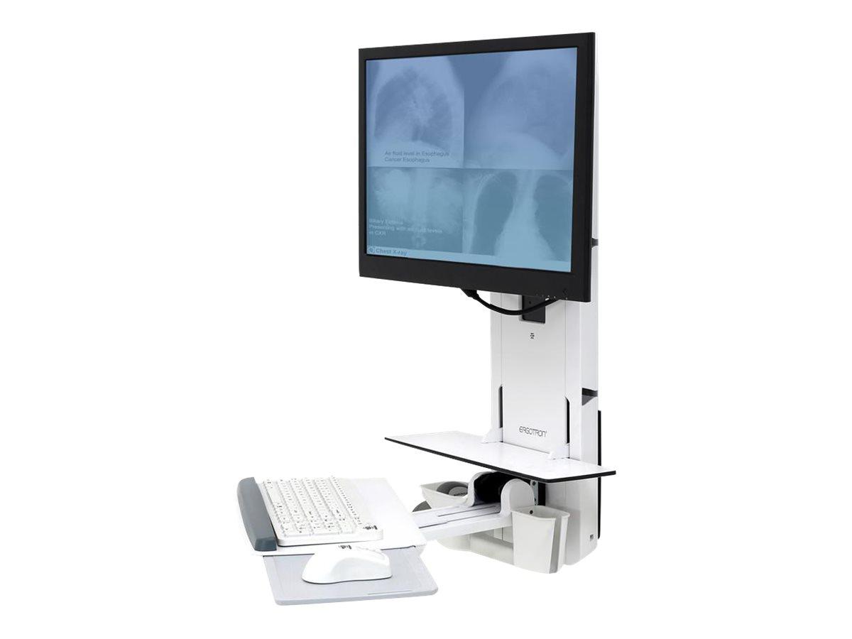 Ergotron Sit-Stand Vertical Lift, Patient Room - Befestigungskit (Handgelenkkissen, Maushalterung, vertikale Verstellschiene, Barcode-Scanner-Halter, Tastatur-Tablett, Monitorarm, Mausablage zum Herausziehen)