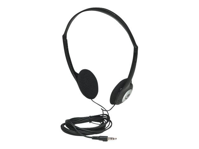 Manhattan Stereo Headphones, Lightweight, Adjustable Split Headband, Cushioned Foam Earpads, 1x 3.5mm stereo jack/plug for audio output, Adjustable Split Headband, cable 2.2m, Black, Three Year Warranty, Blister