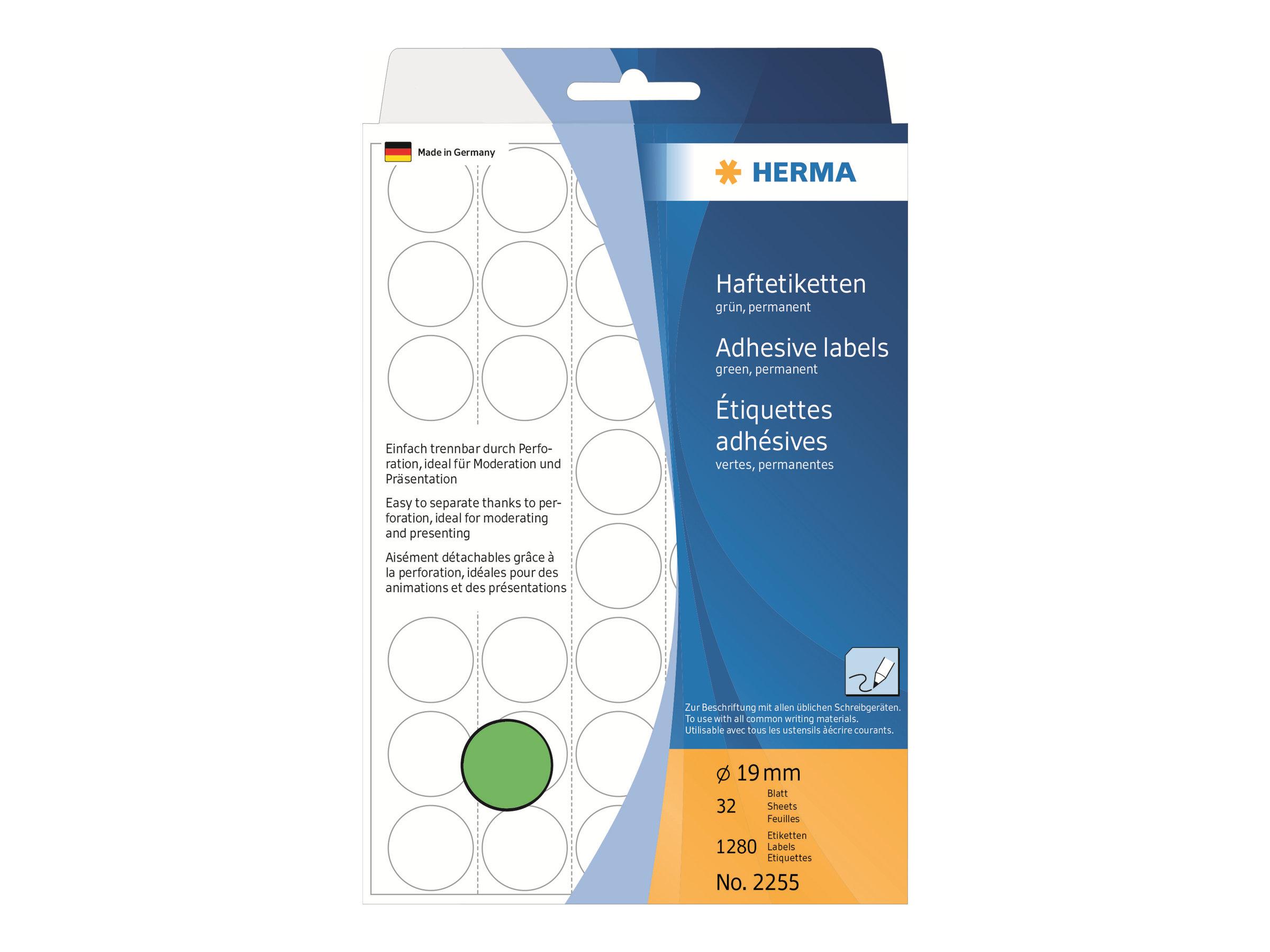HERMA Papier - permanenter Klebstoff - grün - 19 mm rund 1280 Etikett(en) (32 Bogen x 40)