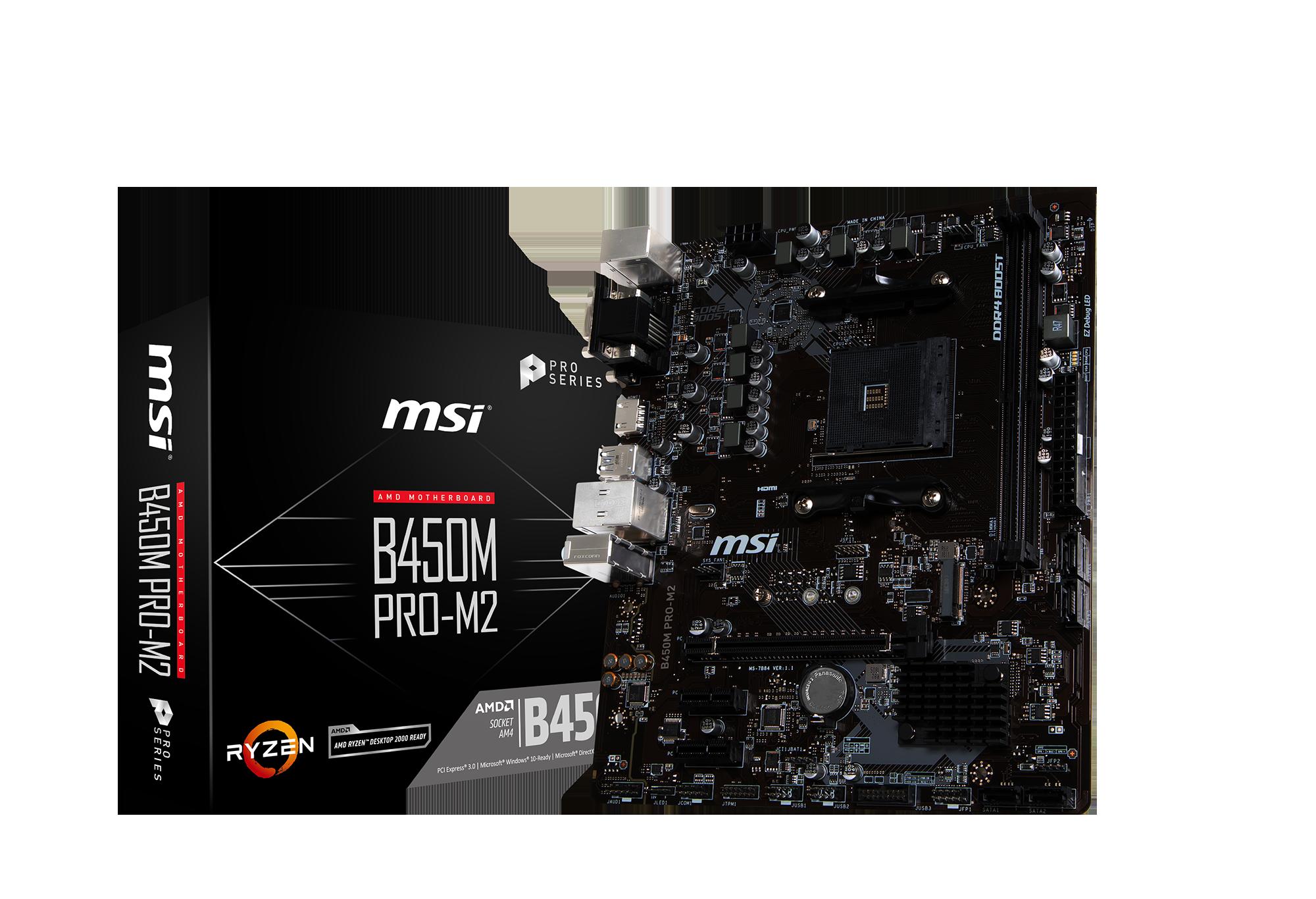 MSI B450M PRO-M2 - Motherboard - micro ATX - Socket AM4 - AMD B450 - USB 3.1 Gen 1 - Gigabit LAN - Onboard-Grafik (CPU e