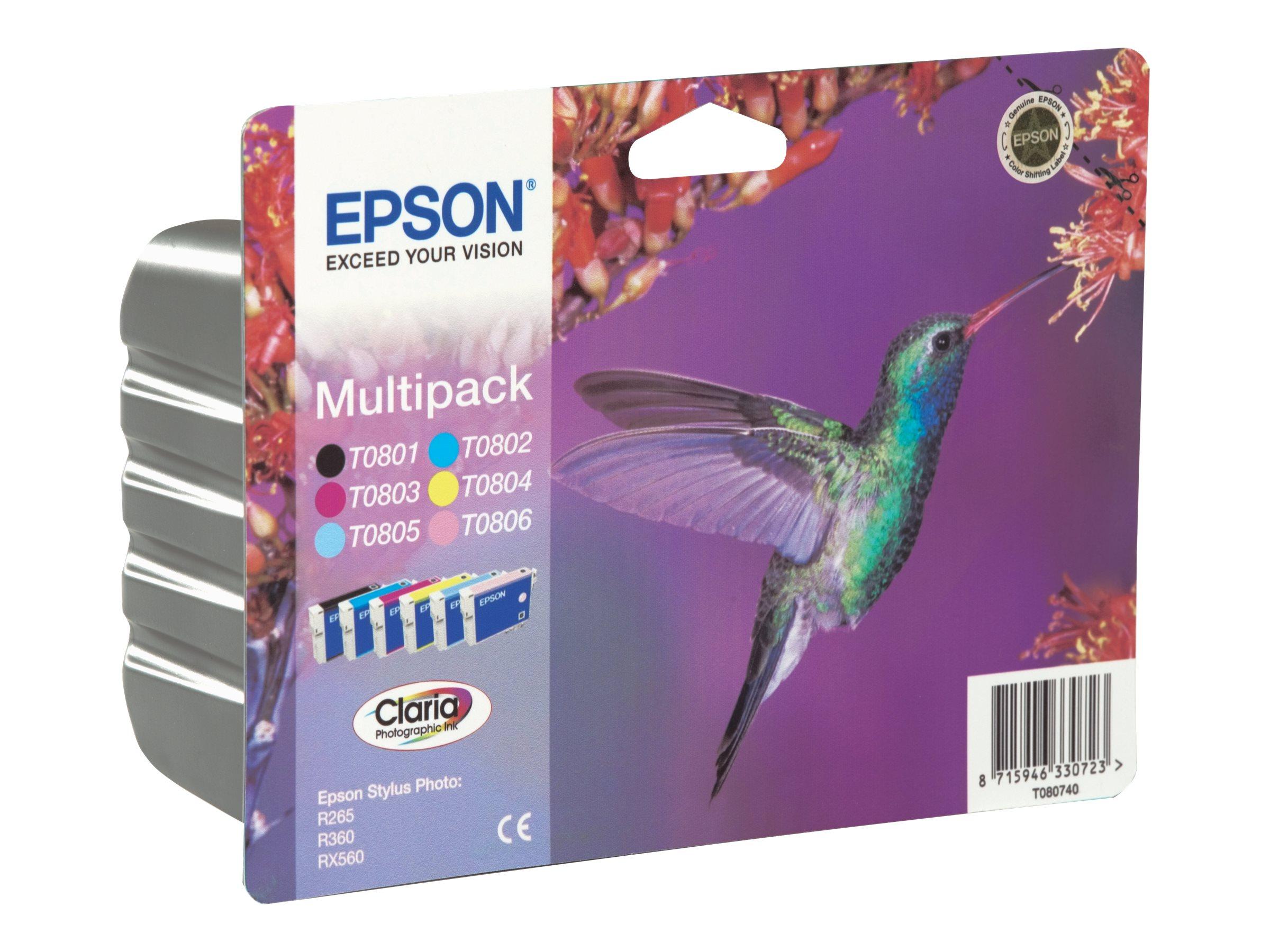 Epson T0807 Multipack - Schwarz, Gelb, Cyan, Magenta, hellmagentafarben, hell Cyan