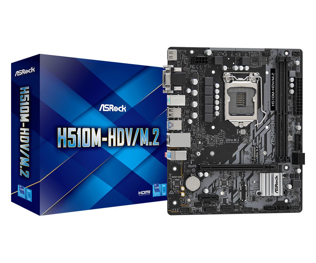 Vorschau: ASRock H510M-HDV/M.2 - Motherboard - micro ATX - LGA1200-Sockel - H510 - USB 3.2 Gen 1 - Gigabit LAN - Onboard-Grafik (CPU erforderlich)