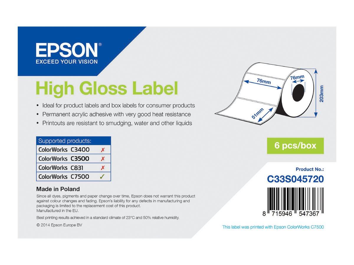 Vorschau: Epson Hochglänzend - permanenter Acrylklebstoff - 76 x 51 mm 2310 Etikett(en) (1 Rolle(n)