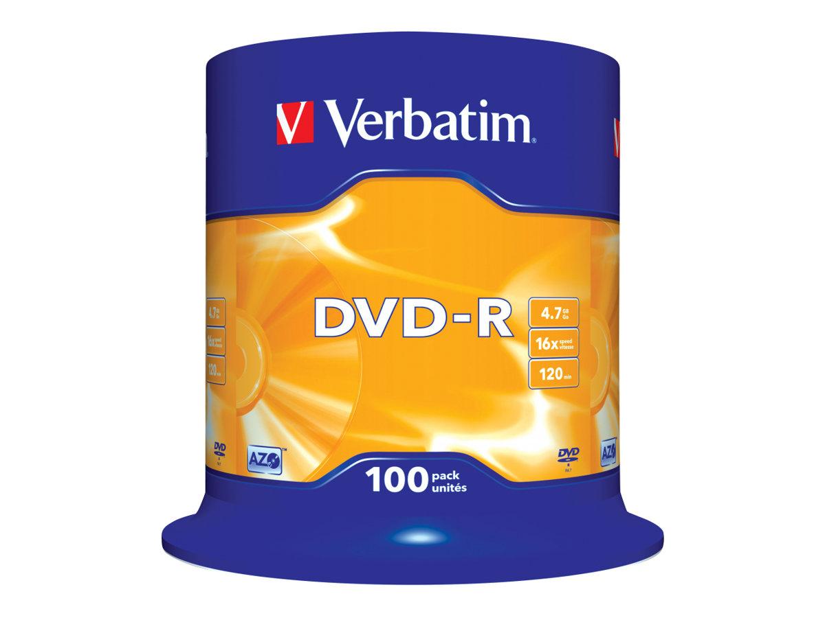 Verbatim 100 x DVD-R - 4.7 GB 16x - mattsilber