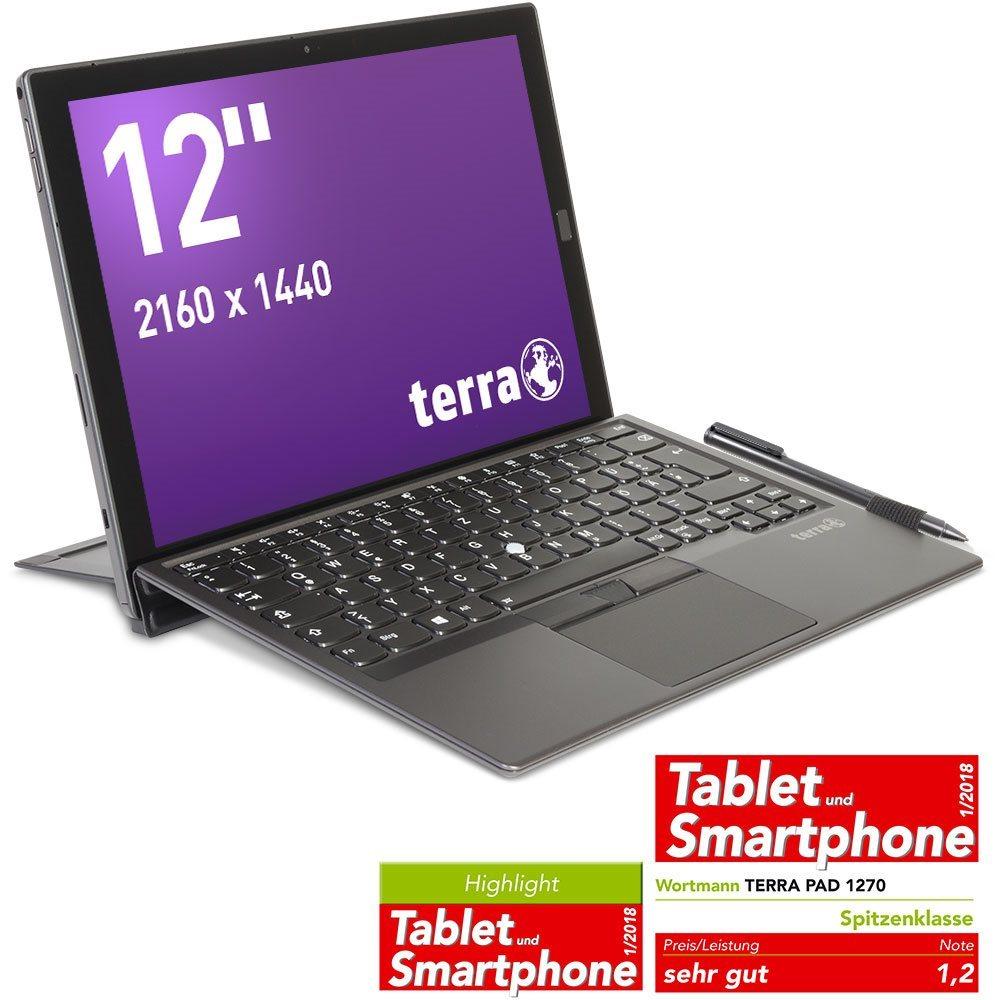 """TERRA PAD 1270 - 30.5 cm (12"""") Touchscreen Full HD Plus - Core i5 7Y54 - 8 GB RAM - 256 GB SSD - Win 10 Pro incl. Stift und Tastatur"""
