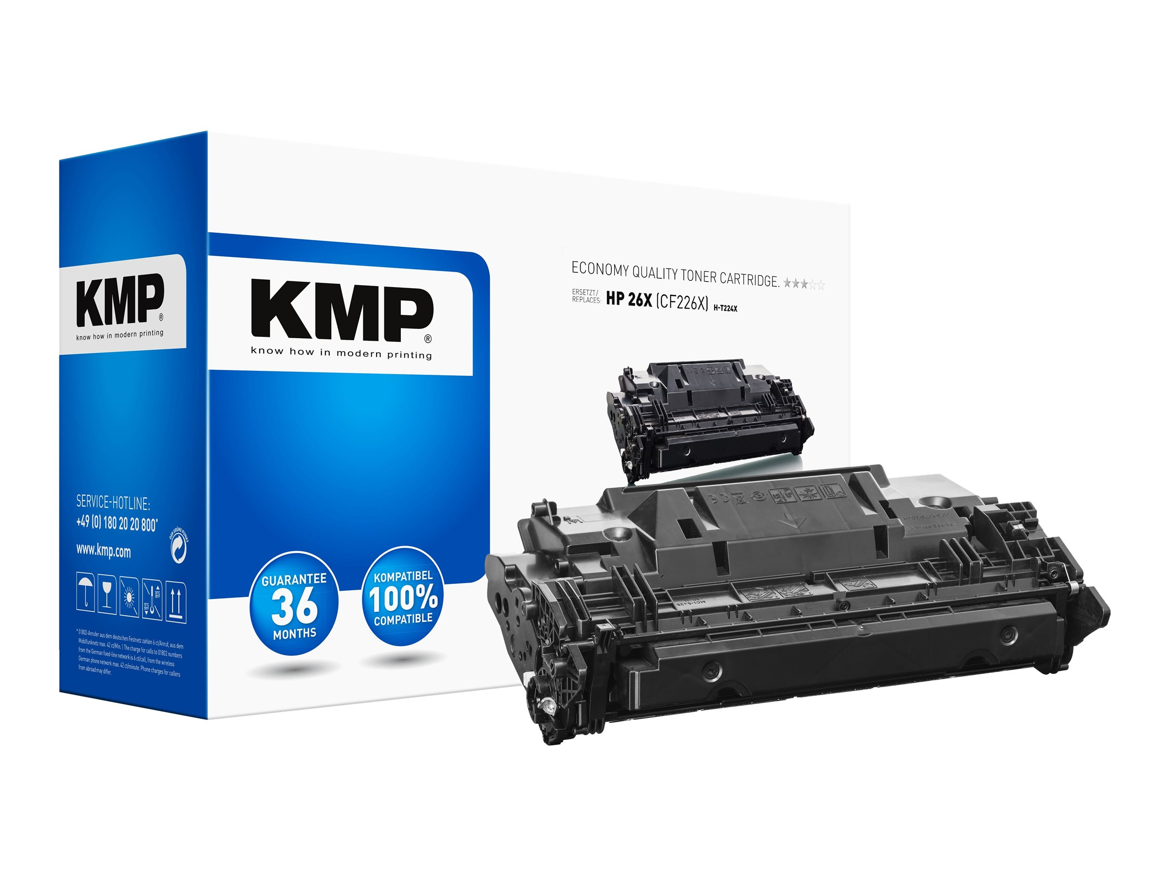 KMP H-T224X - 330 g - Hohe Ergiebigkeit - Schwarz - kompatibel - Tonerpatrone (Alternative zu: HP 26X)